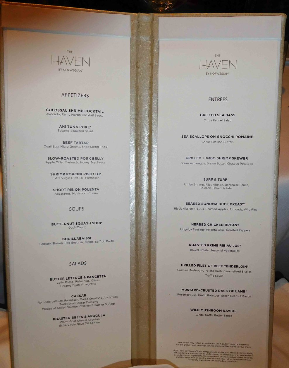 Haven Lunch Menu