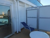 Royal Princess cabin R-734.  Premium deluxe balcony.  Huge aft-facing balco