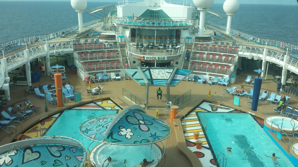 Elevated photo of the main pool area.