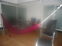 Our large balcony with my trusty hammock - which I used often to sleep when