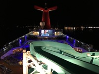 View of the Lido Deck night one watching a film at the Dive-In Movies!