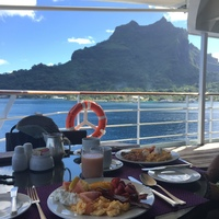 The food and wait staff service on Paul Gauguin is superb. Made fresh daily with mostly local ingredients, all meals offer variety and excellence. Here we have lunch on the deck of La Veranda on Deck 6 in Bora Bora.