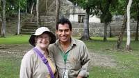 Me with our tour guide, Pedro, in Cahal Pech palaces in Belize.