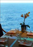 Breakfast table in the Lido Restaurant (Deck 9).  Sparkling clean tables an