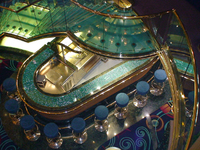 This is an abstract shot of the Ocean Bar in the Atrium from above the tran