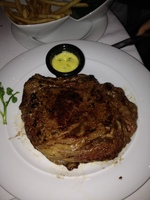 What a rib eye steak! Three people could eat this! fabulous taste.