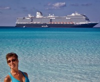 View of the ship from the beach on Half Moon Cay (private island).