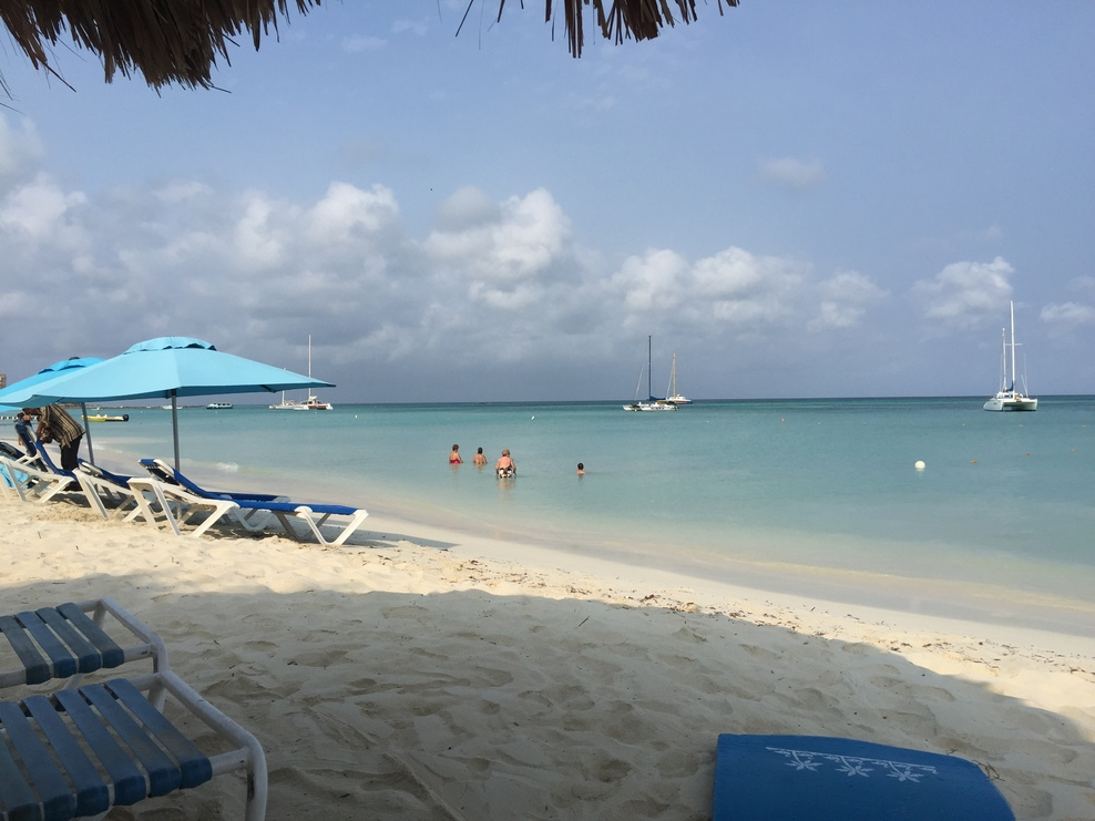 Aruba beach. We paid $10 per person per place to sit/laydown and $10 additi