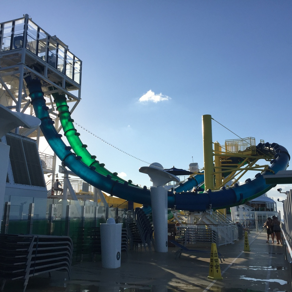 Duel racing water slides. Who can slide down faster?