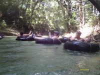 Tubing down the White River in Jamaica