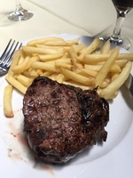 The steak I was served for 6.60 pesos in Uruguay. Delicious!!!
