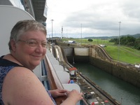 My wife on balcony at Gatun Locks, Panama Canal