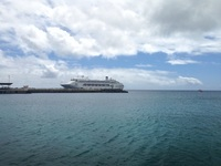 Pacific Dawn docked at Mare, New Caledonia.