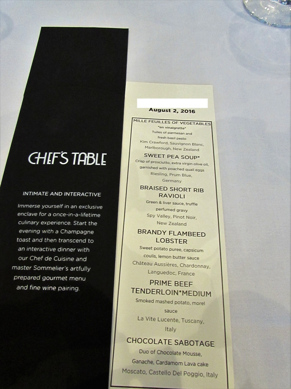 Chef's Table: Menu