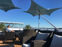 Lovely morning sipping a cappuccino on the sun deck.