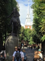 Paul Revere statue with the Old North Church steeple