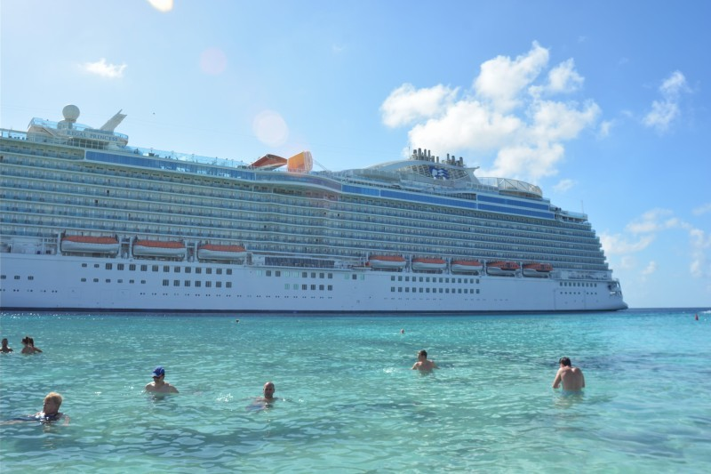 Turks and Caicos beach front looking at our beautiful Regal Princess