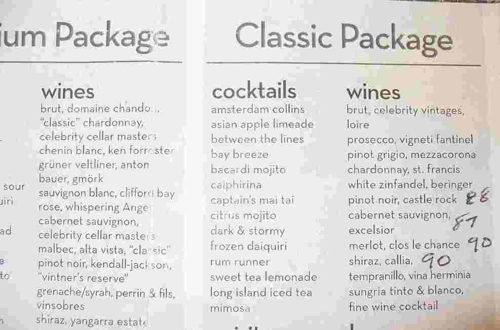 Drink packages ... see review for info on the accuracy of these lists.