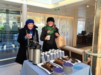 A welcome hot chocolate on the boat after an excursion