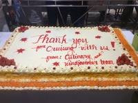 A Thank You cake big enough to feed hundreds of cruisers.