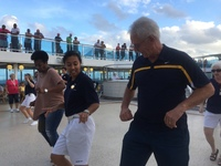 Embarkation dancing.  Great fun.