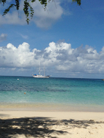 Diamant as seen from the shore on Tobago Cays.