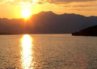Entering Kotor harbor at sunrise.