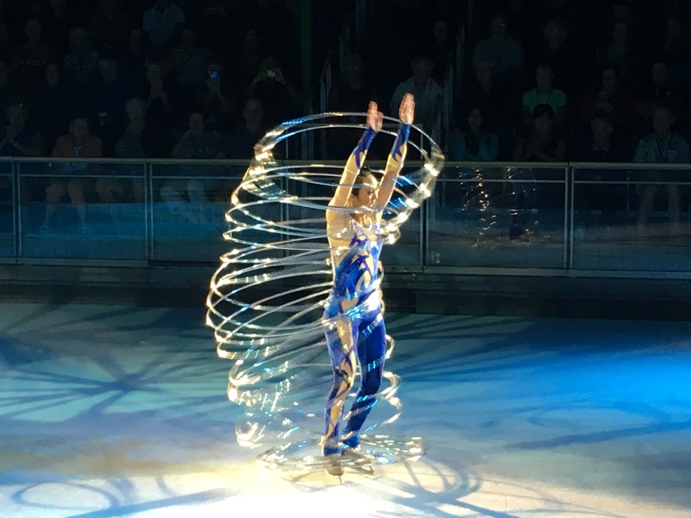 Beautiful & talented ... Ice skates n hoola hoops !