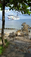 View of the Norwegian Dawn from the shore in Roatan.