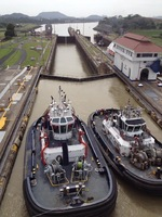 Water is pumped into the lock causing the ship to rise in elevation.