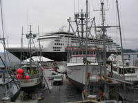 Port of Sitka, Alaska with fishing boats under repair.  Watching port activity can be interesting and educational too!