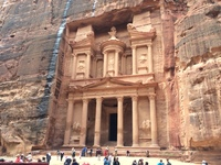 This is a photo of the Treasury in Petra, one of the Seven Wonders of the New World.
