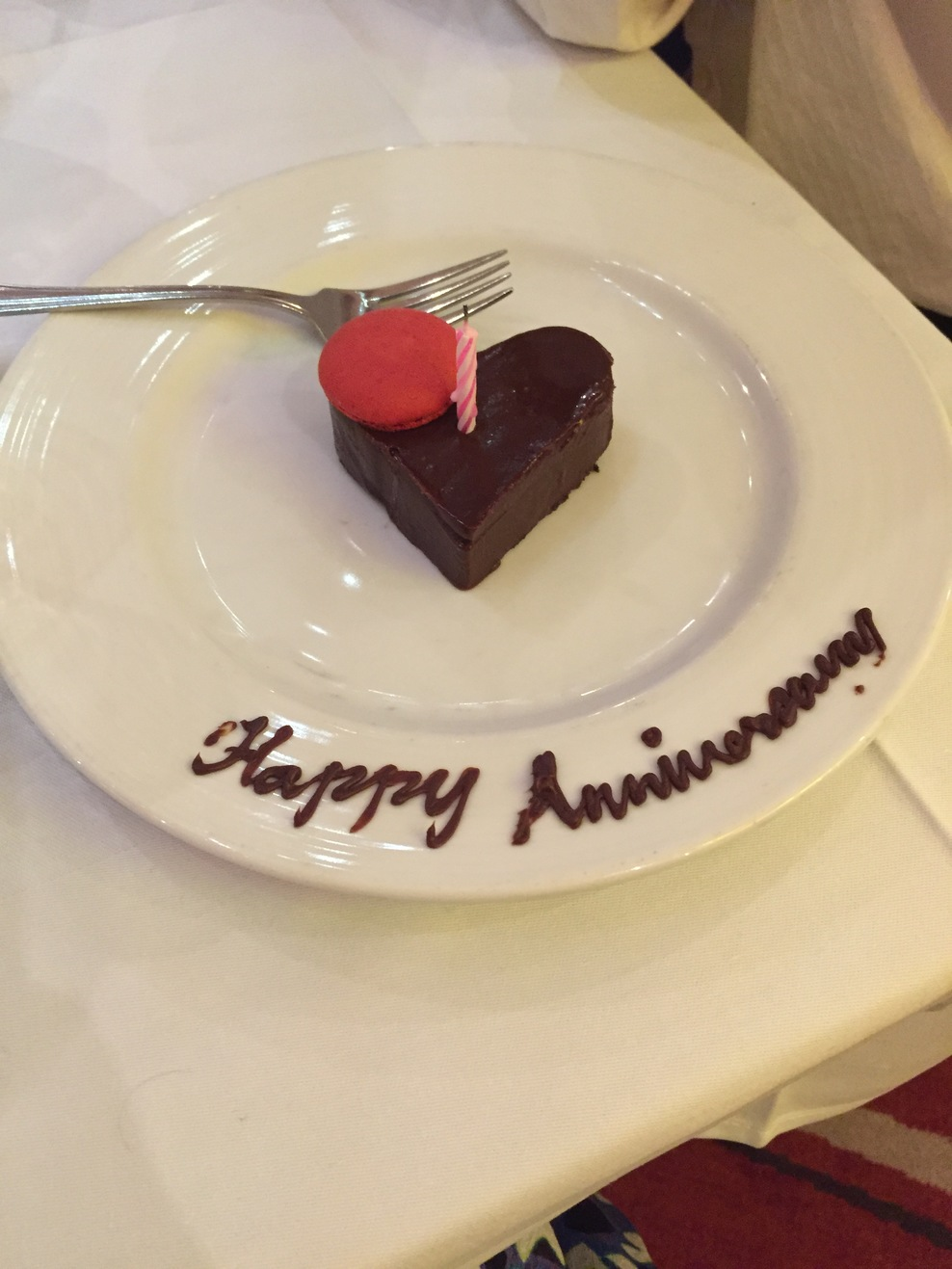 We celebrated our anniversary on the ship and our waiter brought us a cake!