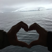 Our first glimpse of Antarctica, celebrating our wedding anniversary in the early morning of February 20.