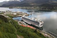 Our ship from high a top Juneau!