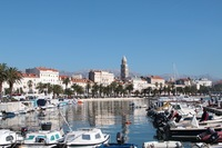View of the marina next to the Diocletian Palace in Croatia.