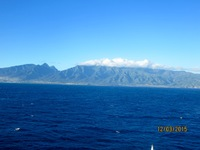 Our first view of the island of Maui and the Haleakala volcano.