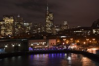 San Francisco at night from the fantail of our ship.