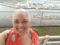 Me with the expansion locks of the Panama Canal in the background