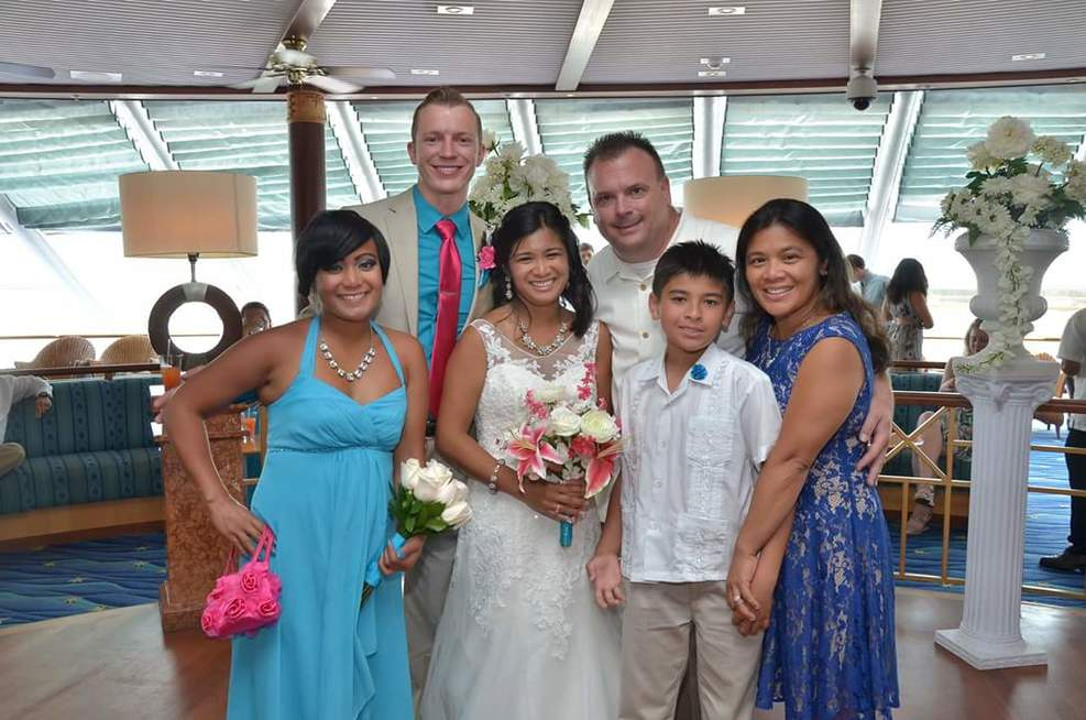 Wedding before cruise departs Miami.