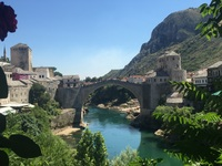 Old bridge in Mostar, Bosnia-Herzegovina seen on an all-day private tour by car with guide. Doable due to extended evening stay in port of Dubrovnik in Croatia.