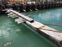 The beams that held the wooden ships high out of the water in Barbados .