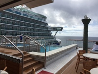 The outdoor infinity pool and hot tub on the Viking Star