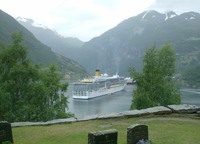 Costa Deliziosa in Norwegian fjord.