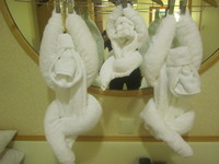 the first monkey from the left was folded by ship employee . the last two was folded by my wife!