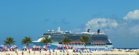 Beautiful ship moored At Coco Cay