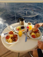 Breakfast on our balcony.  Life is GOOD!!!
