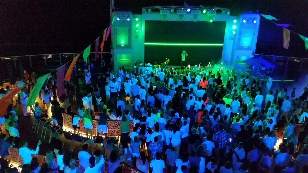 Overlooking the the GLOW Party in Spice H20 from a higher deck