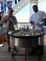 Cooking on the back deck of the Wind Surf with head chef, Eddy
