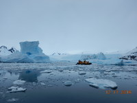 Ocean Endeavour dwarfed by the Antarctic landscape!